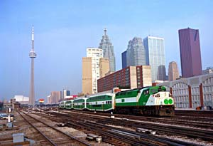 Photo of GO Train in front of CN Tower
