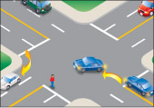 a vehicle yielding the right-of-way to approaching vehicle turning right and a pedestrian crossing intersection