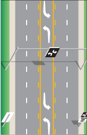 a roadway with a centre lane marked as a two-way left-turn lane