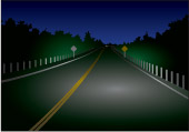 the road ahead when using low beam headlights