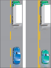 vehicles travelling beside broken yellow lines