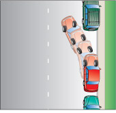 a vehicle completing parallel park