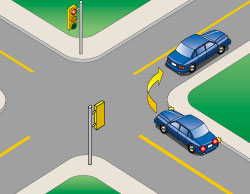 Illustration of vehicle turning right at intersection