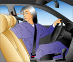Illustration of person looking over right shoulder when reversing