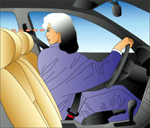Illustration of person looking over left shoulder when reversing