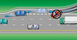 Illustration of vehicle entering freeway