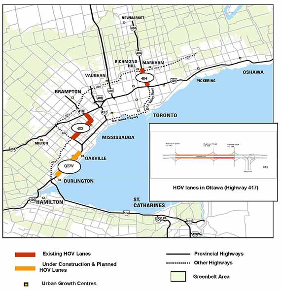 map of the Greater Toronto Area, and of Ottawa; indicating existing HOV lanes:  Highways 403, 404, 417; and HOV lanes planned or under construction:  Queen Elizabeth Way (click to view enlargement)