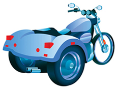 Conventional Motor Tricycle (One wheel in front, two wheels in back)