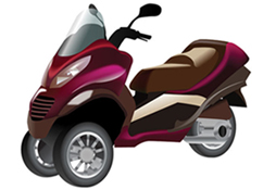Piaggio MP3 (Two front wheels set close together)