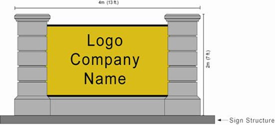 Ground Mount Sign: measure the height and width of the entire structure, including supporting pillars, posts or columns