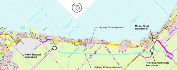 The Highway 26 New alignment will include three new roundabouts in Clearview, Wasaga Beach and Collingwood.
