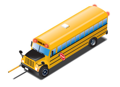 Illustration of front and left side of a school bus