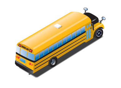 Illustration of rear and right side of a school bus