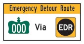 an emergency detour route sign