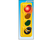 a red light with a yellow arrow