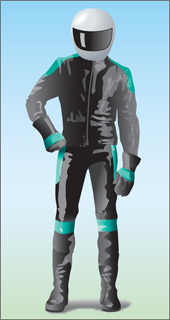 Drawing of person with motorcycle helmet and leather protective clothing