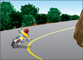 Illustration of someone turning a corner on motorcycle