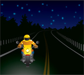 Illustration of wearing bright clothing when riding at night