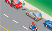 Illustration with rider safely away from parked cars and those pulling out