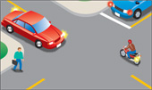 Illustration of car turning left in front of rider on motorcycle