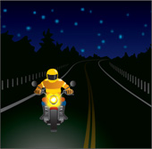 Illustration of someone riding at night
