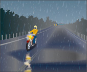 Illustration of someone riding in the rain