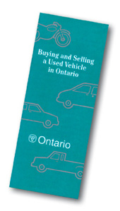 Example of an Ontario government booklet about buying and selling used vehicles