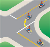 Diagram showing a test for a safe right turn at an intersection
