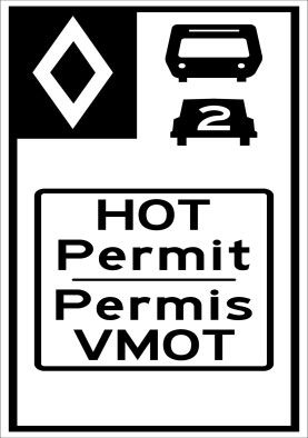 HOT lane sign, featuring a diamond marker, a bus, and a car with two passengers. HOT Permit
