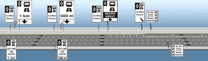 Enter an existing lane which has converted to HOV lane