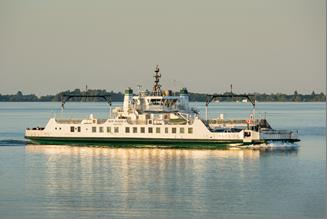 Wolfe Islander III travelling on Lake Ontario from Wolfe Island to Kingston on a calm day