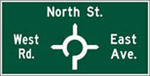 Directional guide signs show the exits and where they will take you.