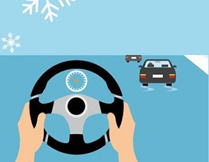 Hands on a steering wheel with cars skidding on an icy road.