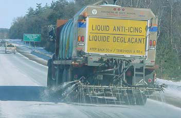 Anti-icing liquid applied to the highway