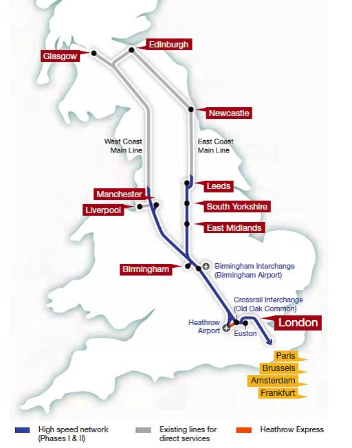 map of uk high speed rail network