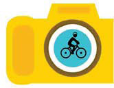camera with cyclist in the lens