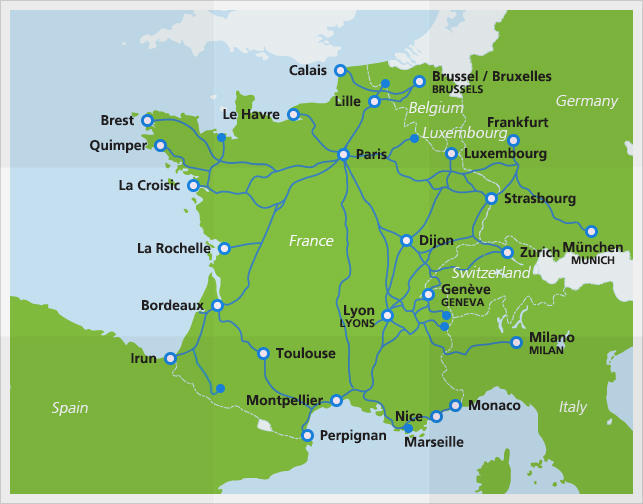 The Train a Grande Vitesse (TGV) system in France is a network of rail lines throughout the country and extending into neighbouring countries.