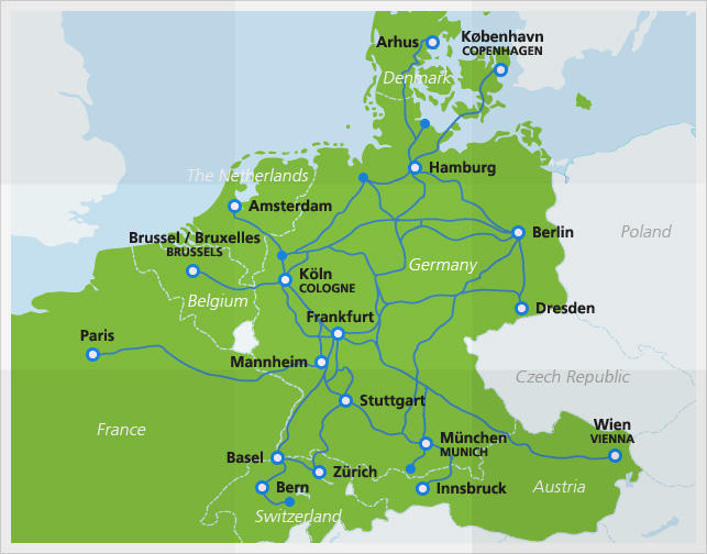The Intercity-Express (ICE) System in Germany showing Routes throughout the country, and into neighbouring countries.