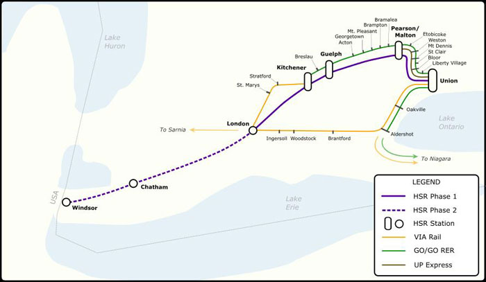 Map of Proposed Future Southwestern Ontario Passenger Rail Network