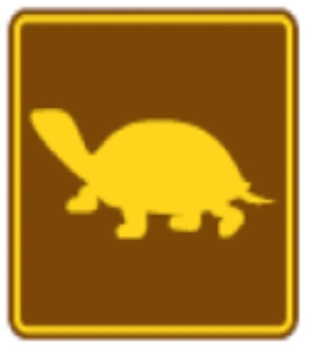 Brown and yellow turtle sign