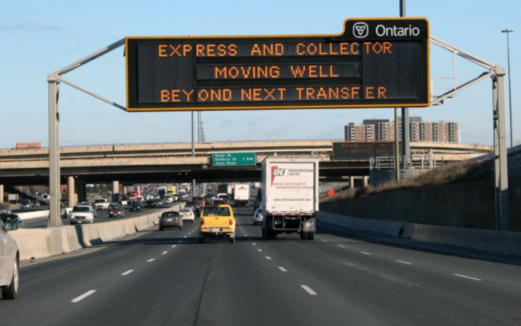 Typical VMS located on Highway 401 in Toronto. The sign is limited in space, cannot display bilingual messages and because of high driving speeds, the signage policy prohibits the use of two-phase messaging on these full-size signs.
