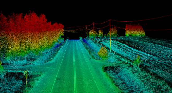 Figure 2a: LiDAR Point Cloud of Highway 594, west of Dryden