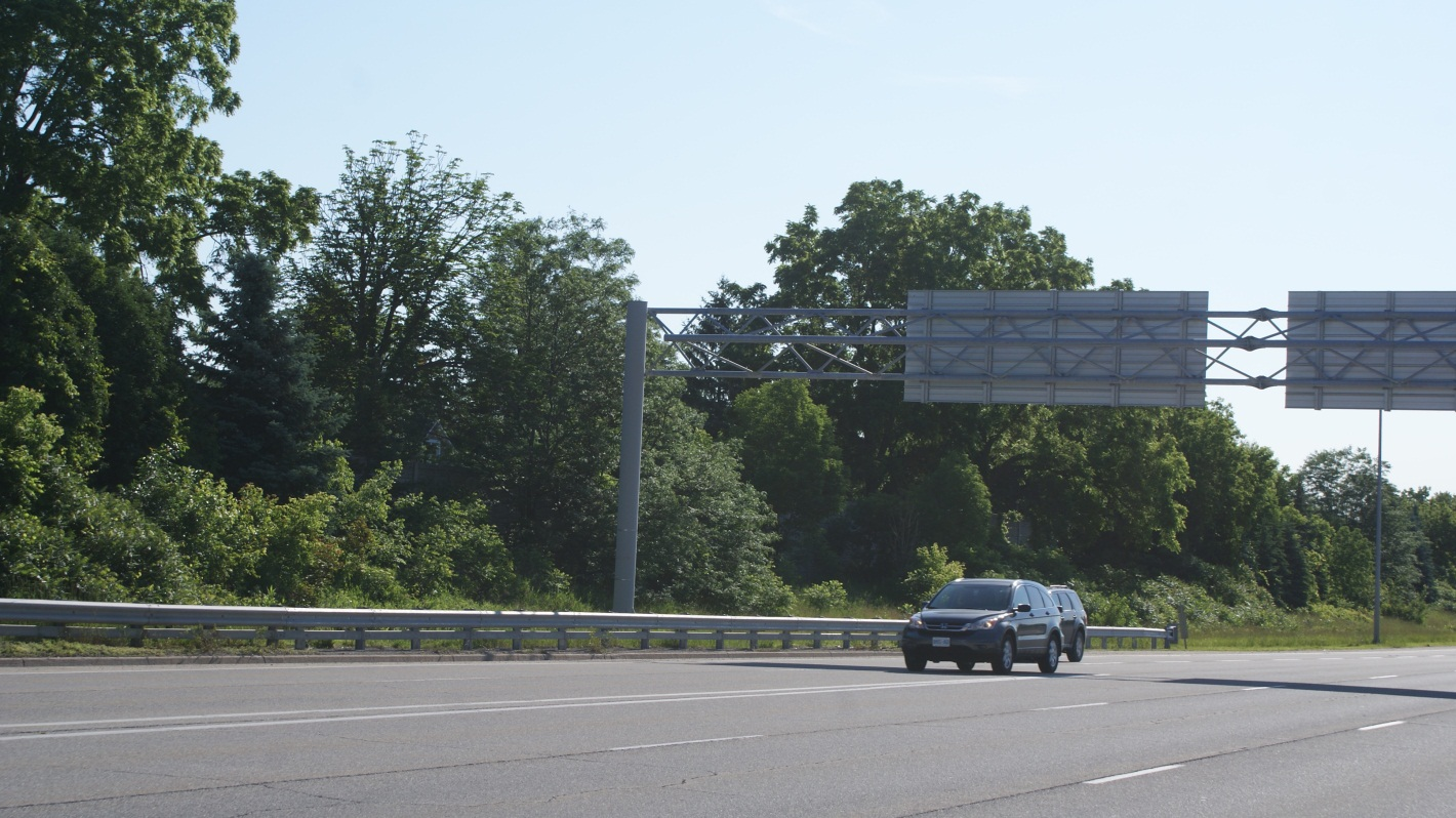 Mature plants grow along an Ontario provincial highway right-of-way.