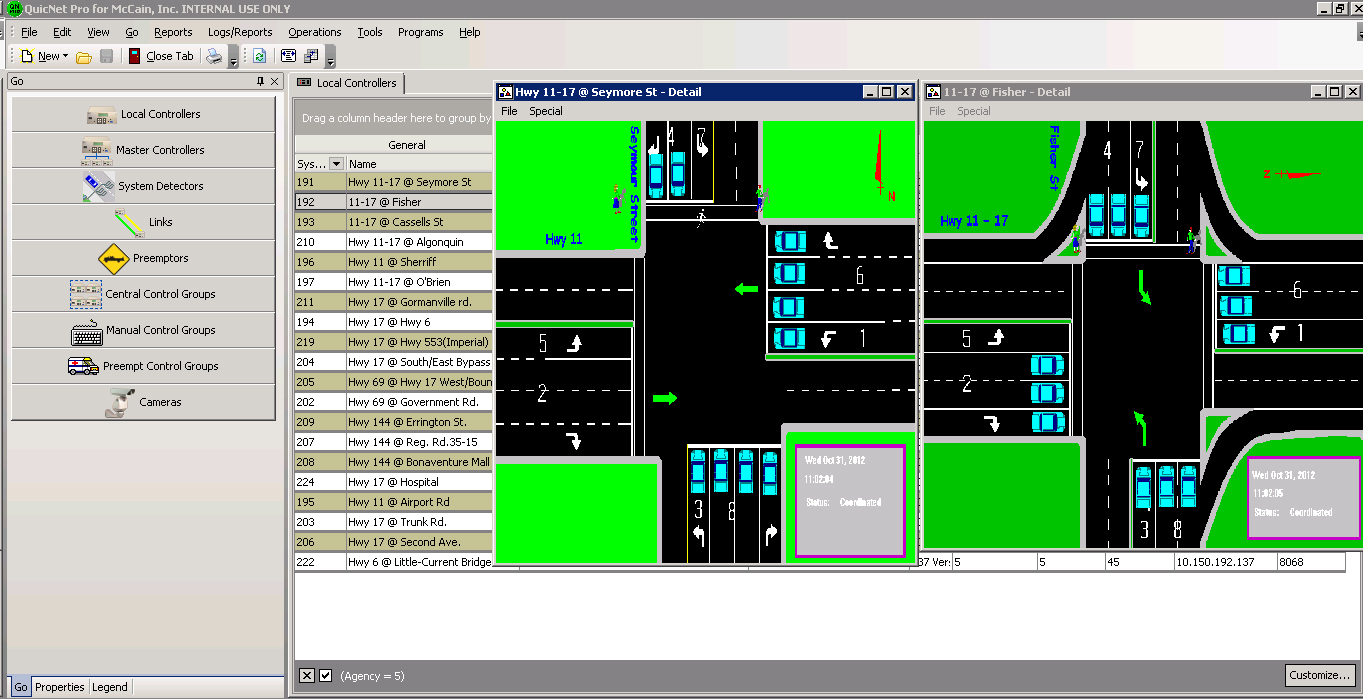 Computer screen shot showing images of two separate intersections being monitored on Highway 11. The background depicts Quicknet Pro's listing of intersections for that area.