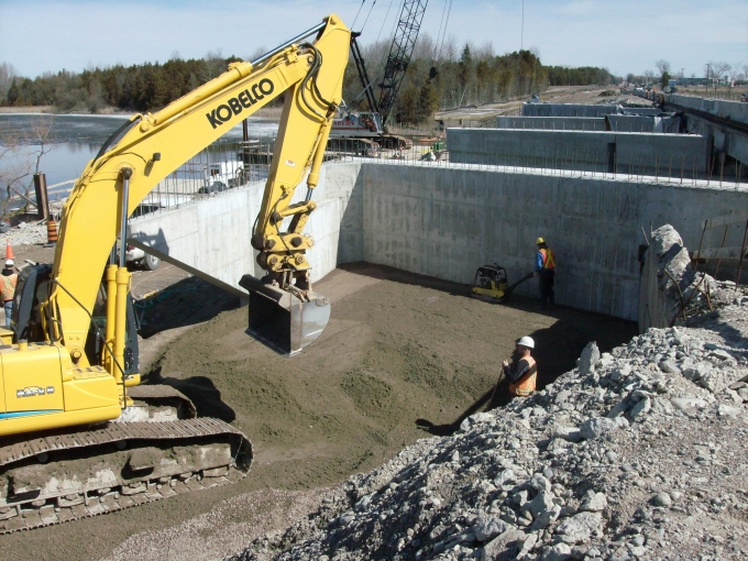 Highway 7, Scugog River Bridge, completed foundations