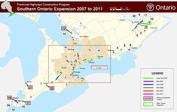 map of Southern Ontario, indicating locations of highway expansion projects