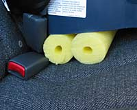 Photo Of Pool Noodles Under The Car Seat