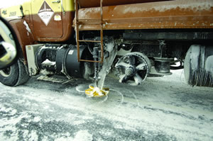 Maintenance vehicle spreading road salt