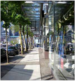 Street-related buildings can contribute to pedestrian comfort through the provision of canopies that can mitigate against the impacts of wind or weather.
