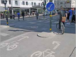 A dedicated bike crossing in Stockholm enables through cyclists to pass while turning cyclists are provided a place to wait for the appropriate signal.